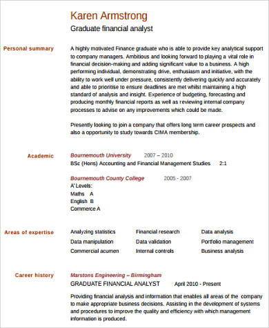 finance analyst resume example