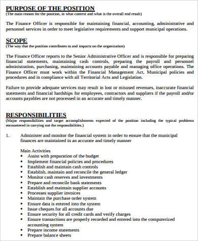 finance job desciption for resume