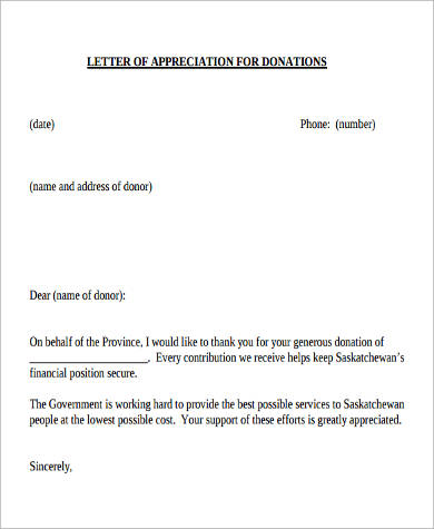 thank you for donation letter 10 sample thank you letters for donation sample templates 1641