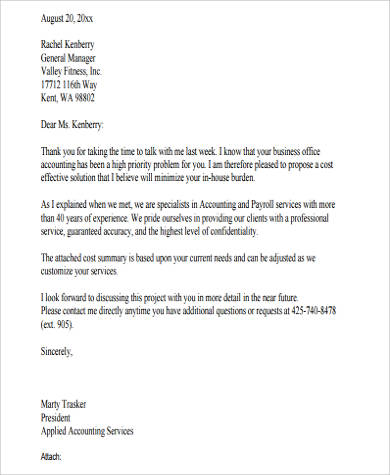 sample cover letter for business proposal