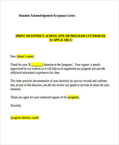 Sample Thank You Letter For Donation   Examples In Word Pdf