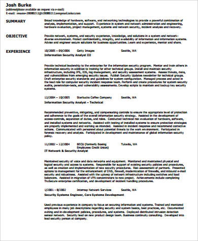 Sample Security Resume   Examples In Word Pdf