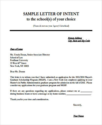 Letter Of Intent Employment Application