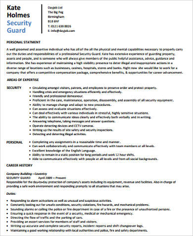 Sample Security Resume  Sample Security Resume