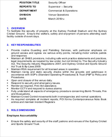 event security guard resume