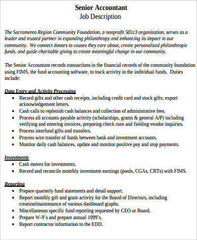 bank senior accountant job description example