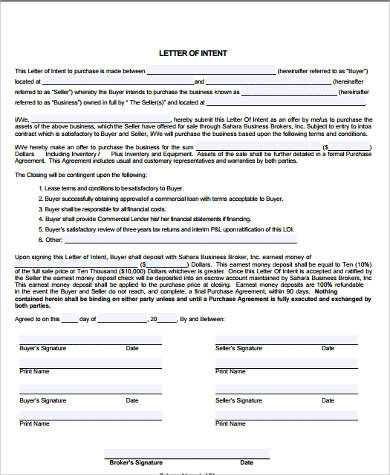 Sample Letter Of Intent Format 14 Examples In Word Pdf