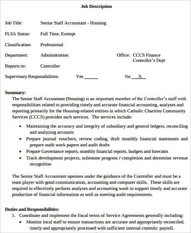 Sample Senior Accountant Job Description   Examples In Word Pdf