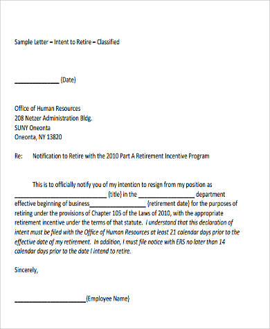 Letter Of Intent To Retire Format