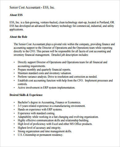 senior cost accountant job description sample
