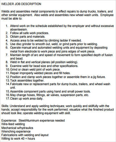 Sample Welder Job Description   Examples In Word Pdf