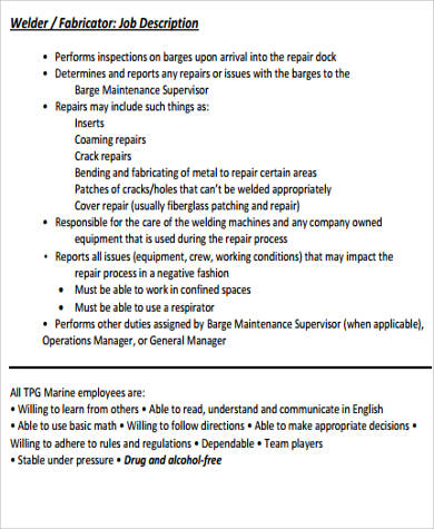 sample welder fabricator job description description of a welder