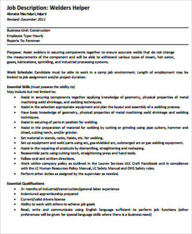 Sample Welder Job Description - 9+ Examples in Word, PDF