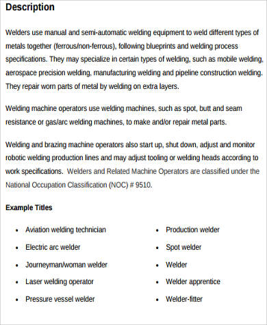 welder dutiesresponsibilities job description description of a welder