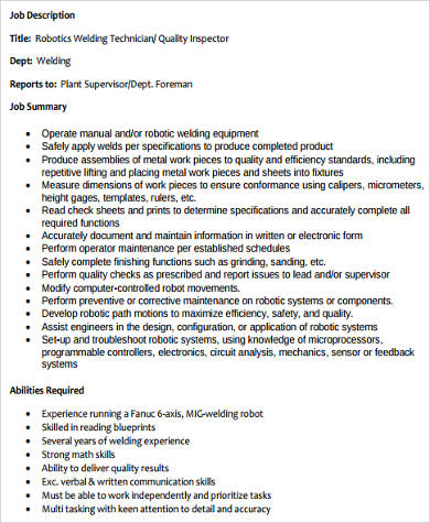 job description quality assurance job description 8 free pdf documents download avionics