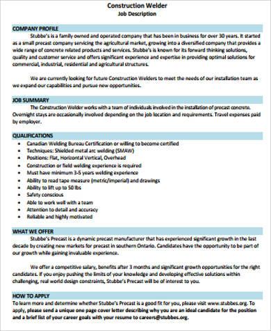 Welder Job Description Samples