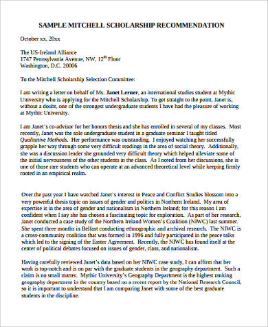 student mitchell scholarship recommendation letter