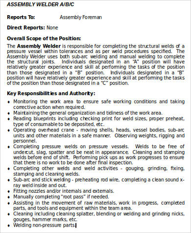assembly welder job description