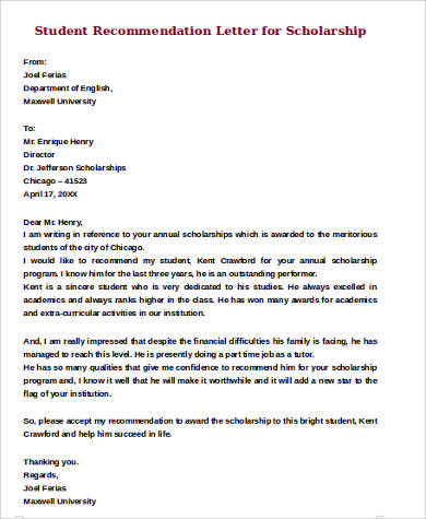 Sample Student Recommendation Letter   Examples In Word Pdf