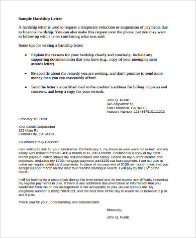 financial assistance hardship letter