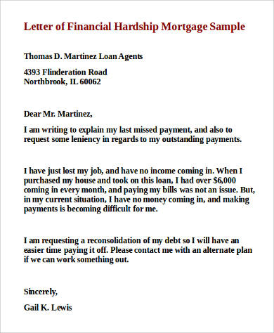 financial hardship letter 9 sample financial hardship letters sample templates 1222