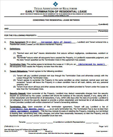 8+ Sample Lease Termination Agreements | Sample Templates