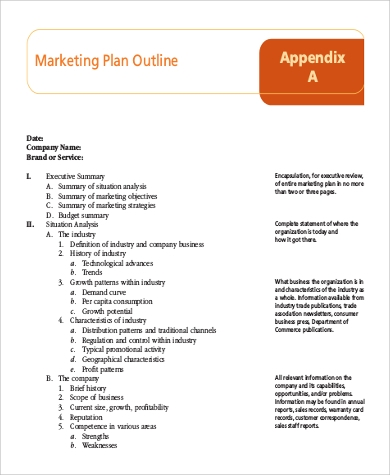 Sample Marketing Plan Outline - 9+ Examples In Word, Pdf