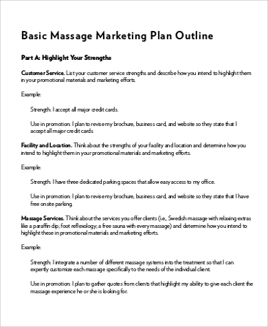 massage marketing plan outline