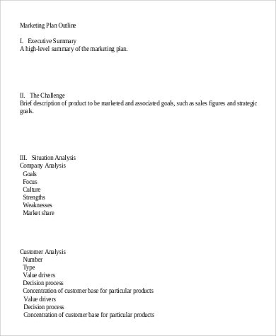 marketing plan outline example