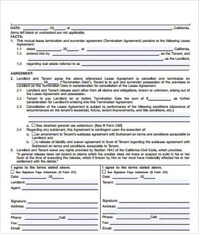 lease termination settlement agreement