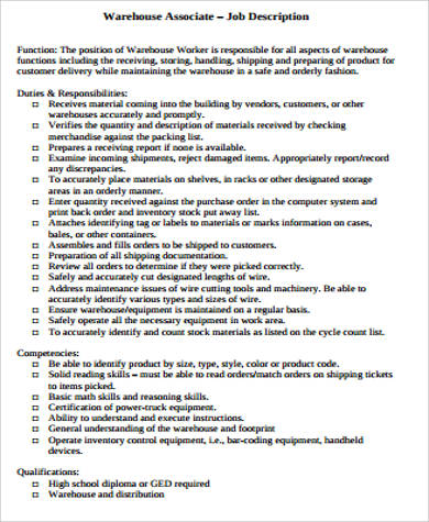 Warehouse Associate Job Description Sample
