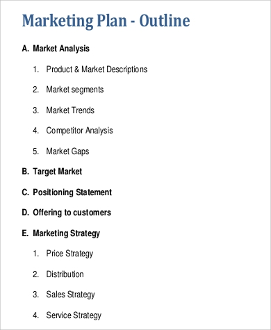 Sample Marketing Plan Outline   Examples In Word Pdf