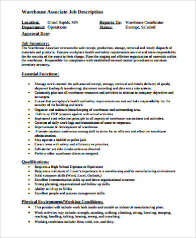 warehouse production associate job description. Resume Example. Resume CV Cover Letter
