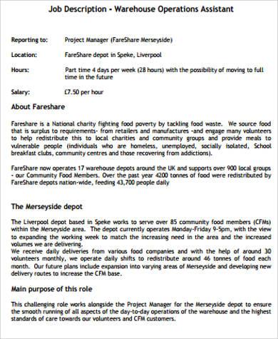 warehouse operations associate job description