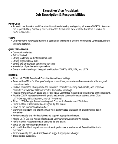 sample executive vice president job description