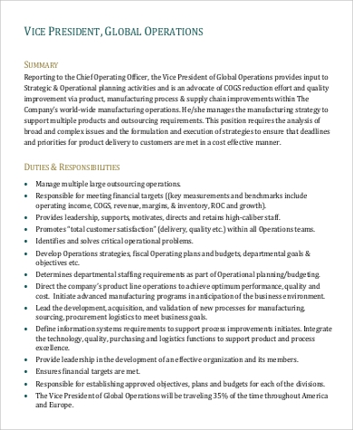 Vice President Job Description Sample - 8+ Examples In Word, Pdf
