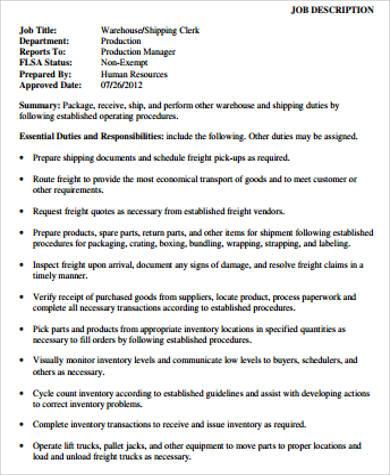 warehouse shipping associate job description