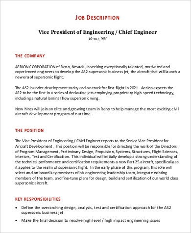 job description for vice president of engineering in pdf