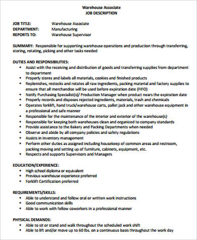 warehouse associate job description sample 8 examples in word pdf - Production Associate Job Description