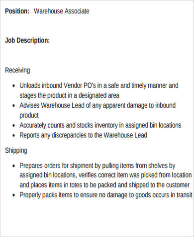 Warehouse Associate Job Description Sample   Examples In Word Pdf