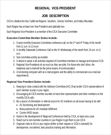 regional vice president job description