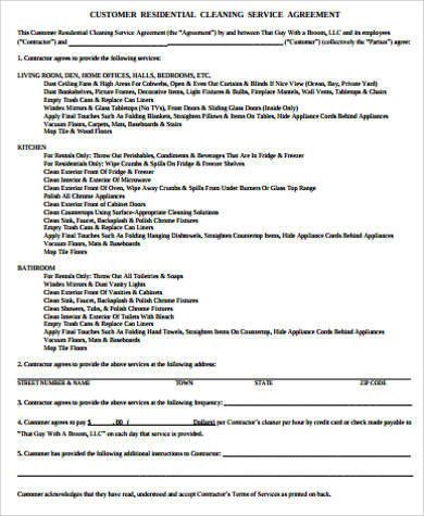 Residential Service Contract Sample   Examples In Word Pdf
