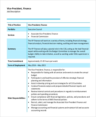 vice president of finance job description