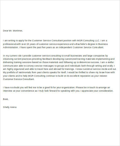 Sample Cover Letter for Customer Service - 6+ Examples in Word, PDF