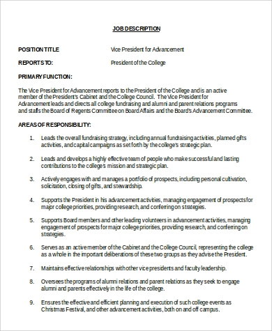 vice president for advancement job description