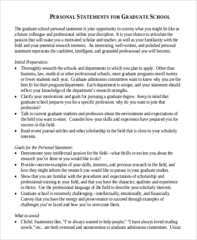 Personal History Statement Template