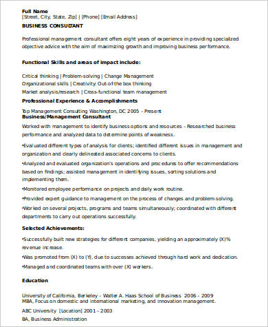 Sample Consulting Resume   Examples In Word Pdf
