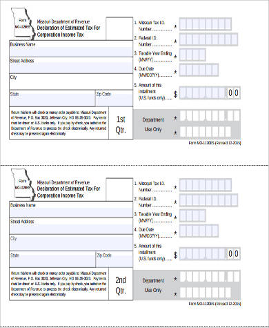 Sample Estimated Tax Form - 8+ Examples In Word, Pdf
