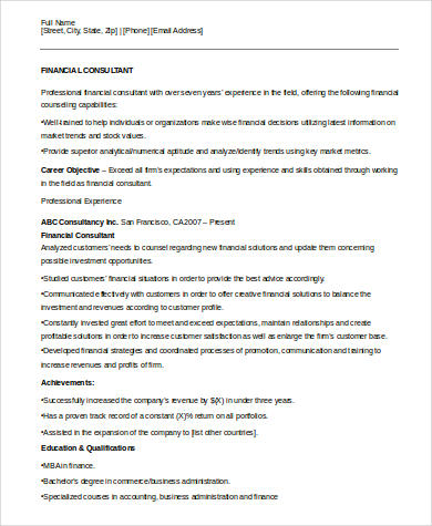 sample consulting resume 8 examples in word pdf