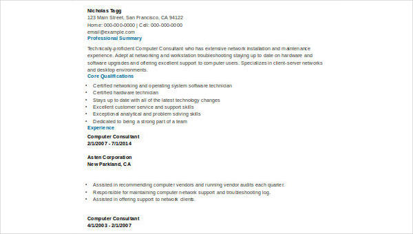 8  sample consulting resumes